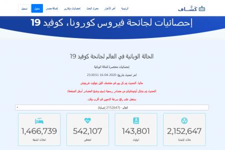 coronavirusapps.png (112 KB) شرح تطبيق كوفيد 19 على منصة كشاف، أول موقع عربي لتتبع إحصائيات   فيروس كورونا الجديد بشكل حي ومباشر