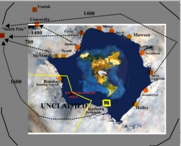 antarctica - spec flat earth labelled map.jpg لماذا لا يمكننا الوصول إلى حافة الأرض المسطحة؟ الأقمار الصناعية وماذا يوجد خلف محيط الأرض أنتاركتيكا (142 KB)
