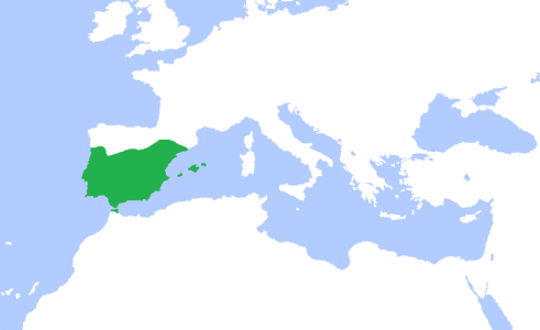 cordobanCaliphate.png (94 KB) الدولة الأمويَّة في الأندلس (باللون الأخضر)، سنة 1000م: